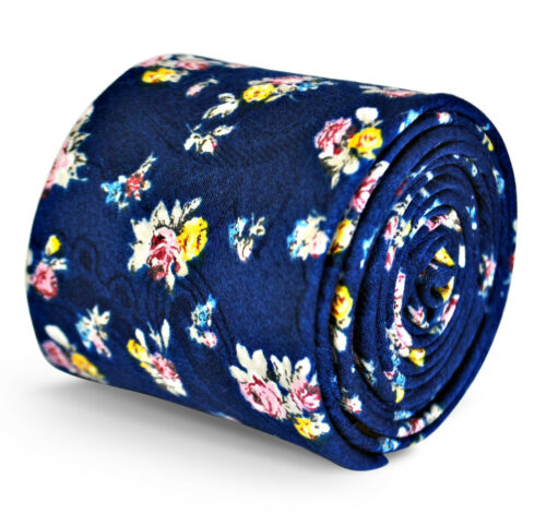 Frederick Thomas mens cotton linen tie in navy blue with floral pattern FT3132