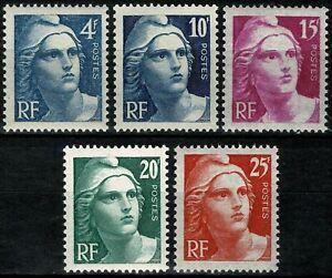 FRANCE-1945-Marianne-de-Gandon-YT-n-725-a-729-neufs-luxe-MNH-B
