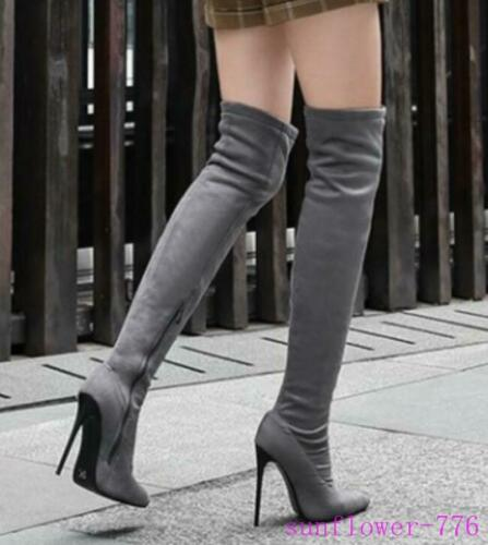 Womens Over Knee Thigh Boots High Stiletto Heel Pointy Toe Autumn Stretchy Shoes