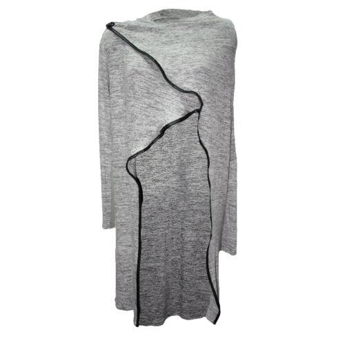 Onorevoli screziato Knit MIDI Cardigan copertura pulsante CAPE wrapover ANTERIORE donne CARDI TOP