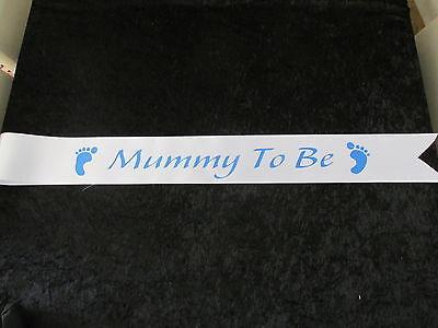 Blue Baby Shower Sash Mummy To Be Satin Sash Ribbon BLUE//BLUE FOOTPRINT