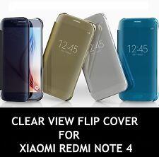 TRANSPARENT CLEAR VIEW FLIP COVER CASE FOR XIAOMI Redmi Note 4 (Blue Colour)