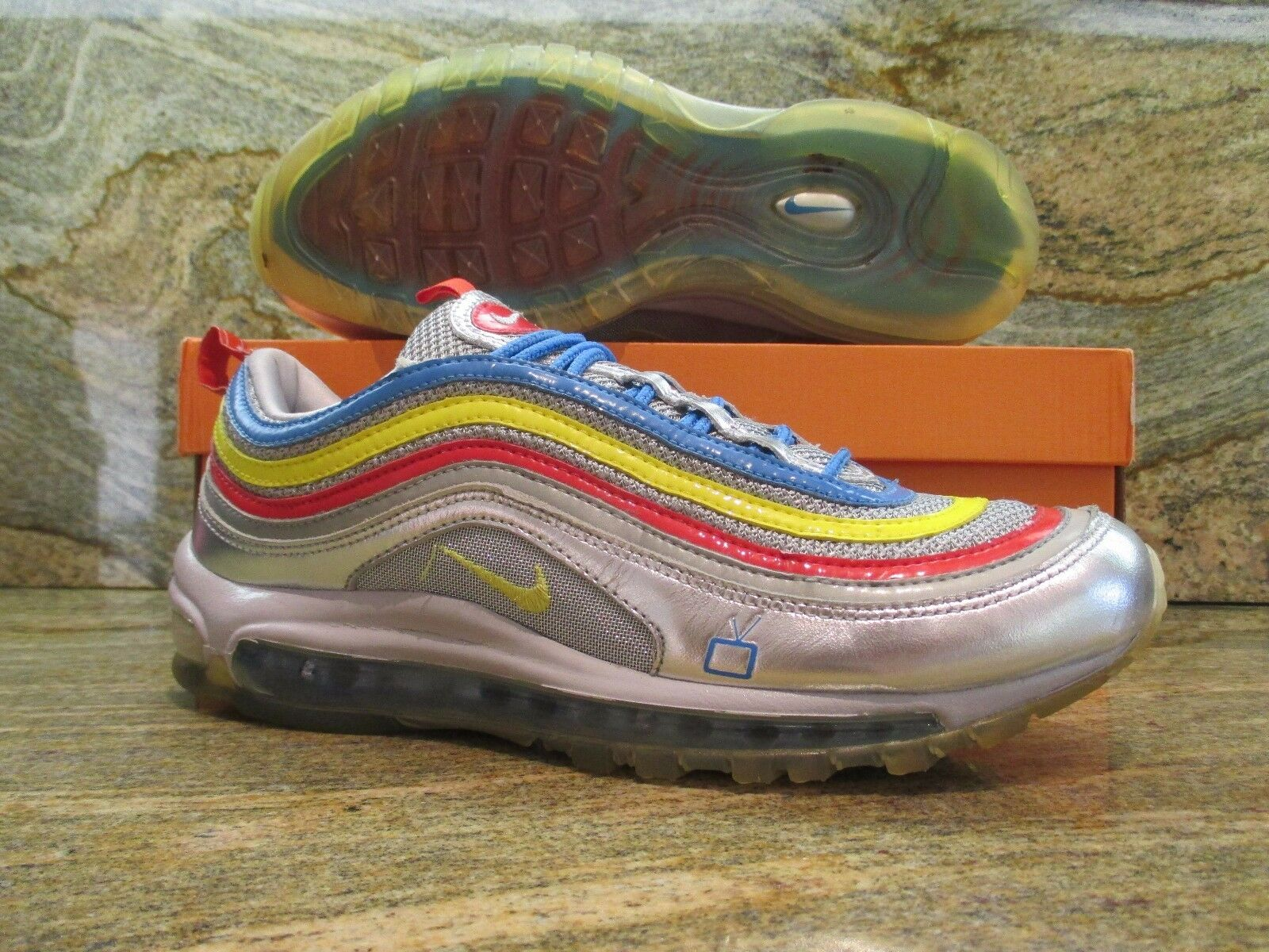 2007 Nike Air Max 97 Premium Anniversary SZ 9.5 Silver Voltage bluee 316088-071