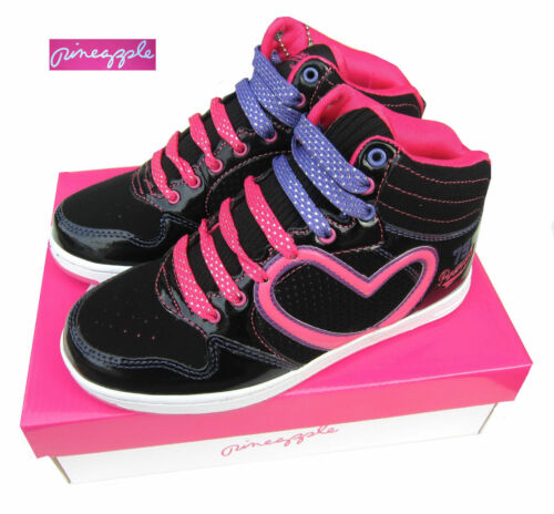 UK5 Pineapple Rollin Girls Black High Top Boots Trainers Lace Up UK13 Kids