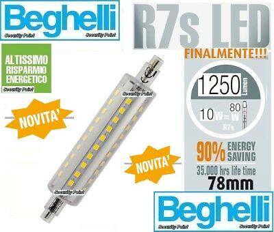 BEGHELLI LAMPADA LAMPADINA LED R7s 10W 80W 2700k LUCE CALDA 1250lm 78 80 mm WARM
