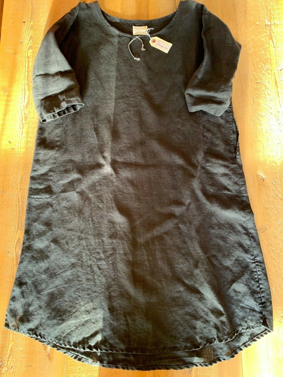 Jess Brown Gardener's Dress, Black Raw Linen, NWT, Size 1 (Women's S)