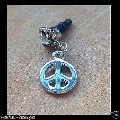 "Handyschmuck Stöpsel Chrome silber, ""Peace symbol"" mit Strass für coole Leute"