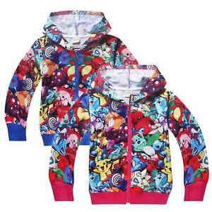 Kids-Boy-Girl-Pokemon-Long-Sleeve-Hooded-Jacket-Coat-Sweatshirt-Outwear-Sweater