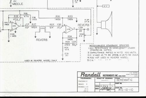 randall instruments rg-12-110 guitar amplifier amp schematic diagram hq  copy* | ebay