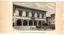 Stampa antica PESARO Palazzo della Prefettura Marche 1910 Old print