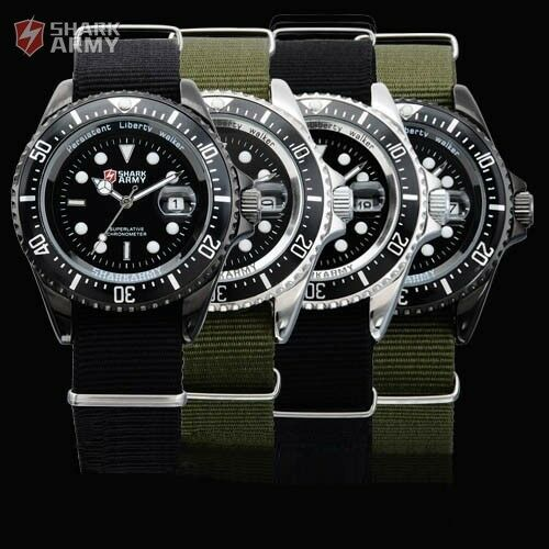 4 Color SHARK ARMY Luminous Date Display Nylon Sport Quartz Men's Military Watch