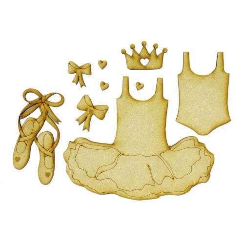 Little Tutu Set-Madera Zapatos De Ballet Vestido Leotardo Libro de Tarjetas artesanal Topper Corona