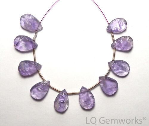 10 pcs Lavender AMETHYST 14-16mm Hammered Teardrop Beads NATURAL /h3