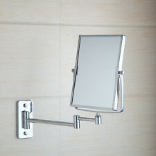 Square Chrome Cosmetic Wall Mount Bathroom Double Sided Magnifying Makeup Mirror