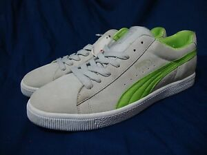Puma Clyde Neo Sneakers 16 Gray Suede Neon Green 350580-02 Old ... fa900d288