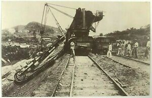 Postcard-1970-039-s-Repro-Panama-Canal-French-Effort-Engineering-Railroad-Sepia