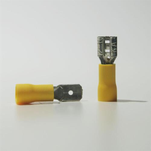 10 paires de chaussures Câble fiches /& prise jaune 6,3 x 0,8mm pour 4,0-6,0mm² Câble Chaussure