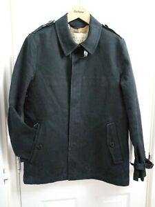 Herren-Burberry-Brit-schwarz-Baumwolle-Knopfleiste-Trench-Jacke-Mantel-UK-Groesse-Small