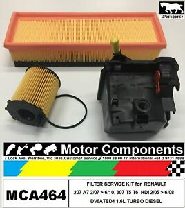 FILTER-KIT-for-PEUGEOT-307-T5-Hdi-DV6TED4-1-6L-Turbo-Diesel-2-05-gt-9-08