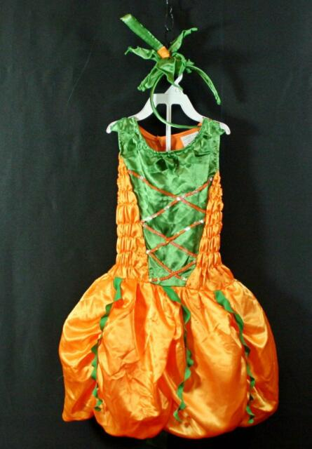 Girls 2pc Palomon Satin Pumpkin Princess Halloween Costume 8 10