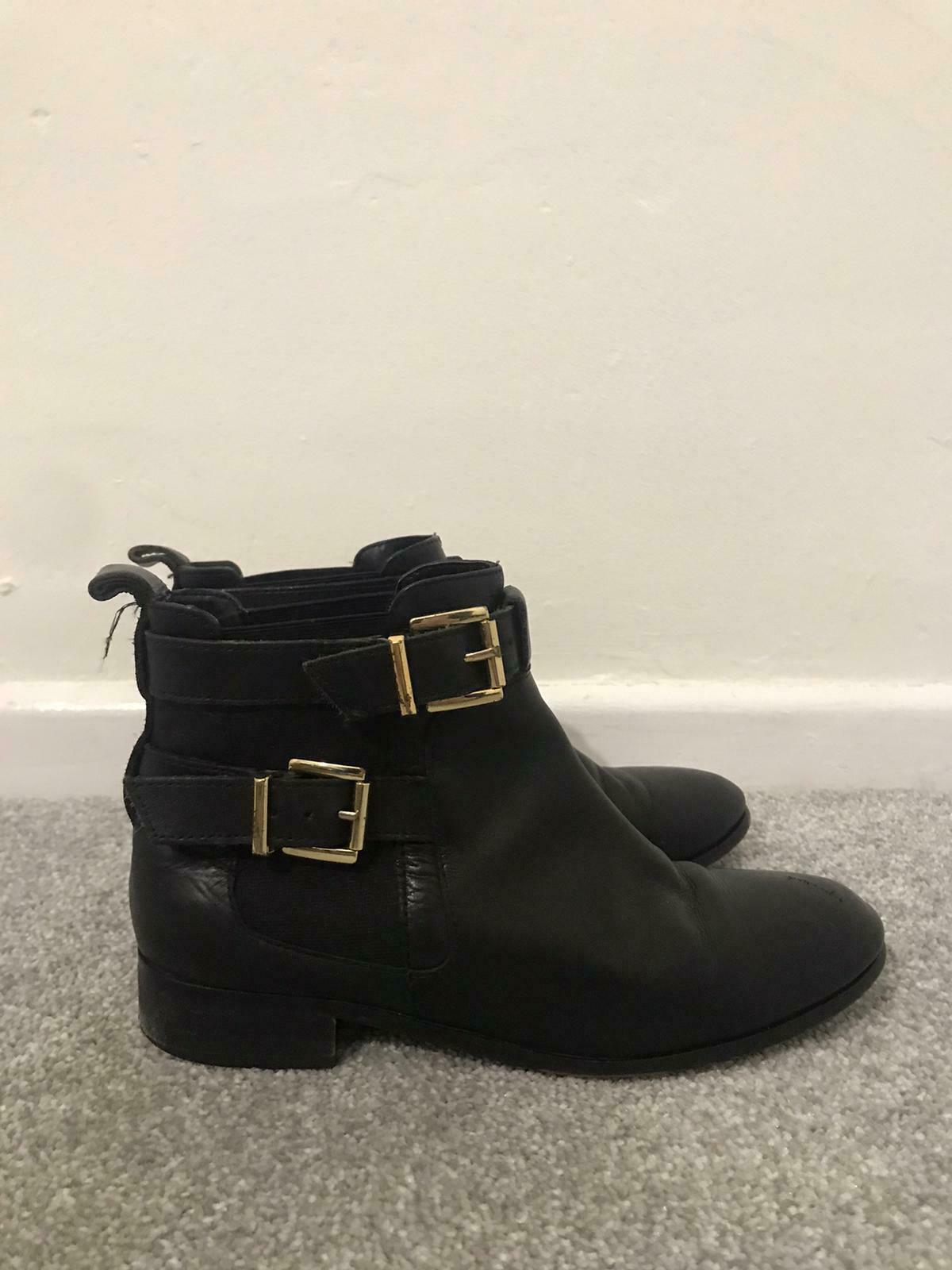 River Island Chelsea Boots Size 4 Black Leather Buckle Ankle Boots