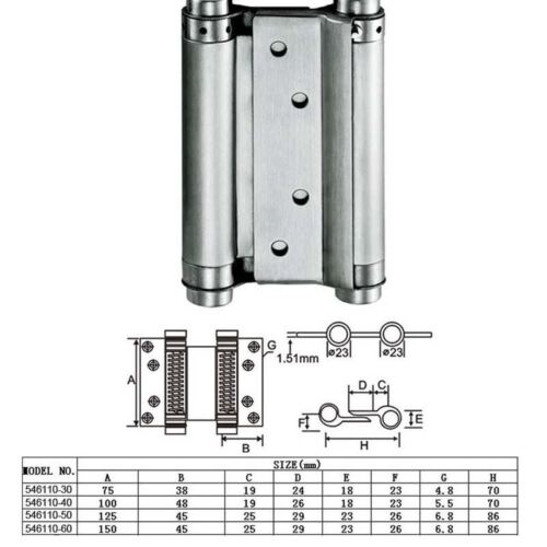 54611040 2 Pieces Stainless Steel 2 Ways Hinges Size:100mm
