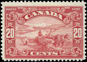 Canada-Mint-Scott-175-20c-1930-King-George-V-Arch-Leaf-Stamp-Hinged