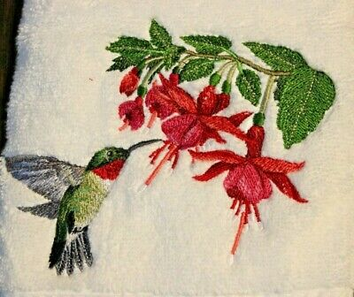 Ruby Throated Hummingbird Beautiful White Bathroom Set Hand Towels Embroidered Ebay