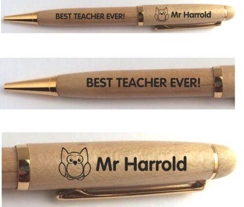 PERSONALISED BEST TEACHER TUTOR GIFT ENGRAVED PEN SCHOOL LEAVING END OF TERM