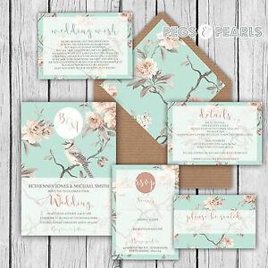 Personalised luxury rustic wedding invitations duck egg blue pink image is loading personalised luxury rustic wedding invitations duck egg blue stopboris Images
