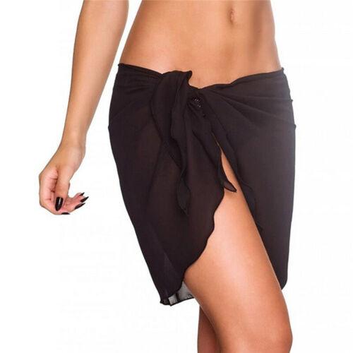 Frauen Strand Bikini vertuschen solide Chiffon Wickelrock Sarong Schal Badeanzug