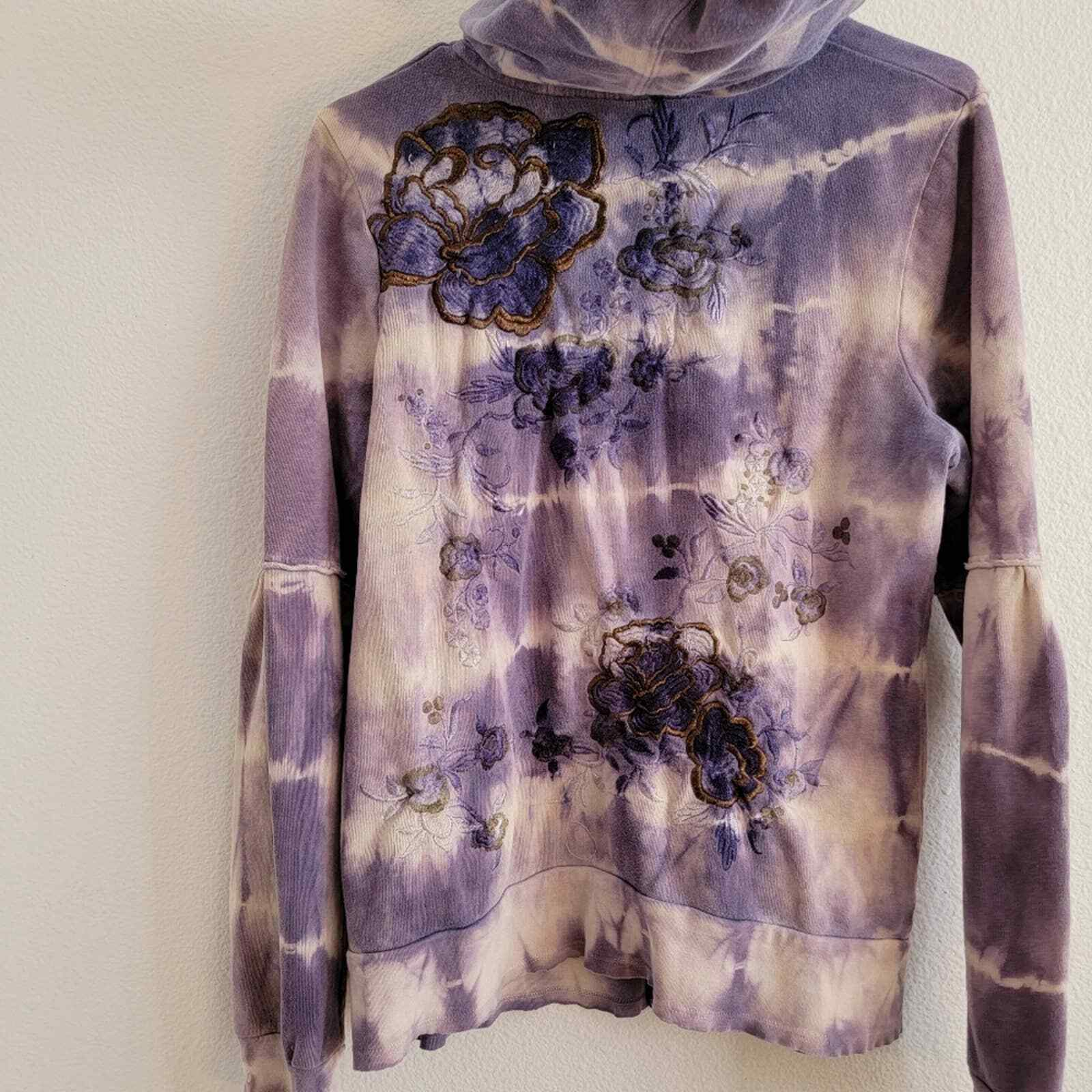 Penelope Violet Tie-Dye Embroidered Zip Up Sweater - image 10
