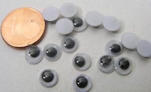 100 YEUX OEIL 6mm plastique fond blanc pupille noir à coller loisirs DIY