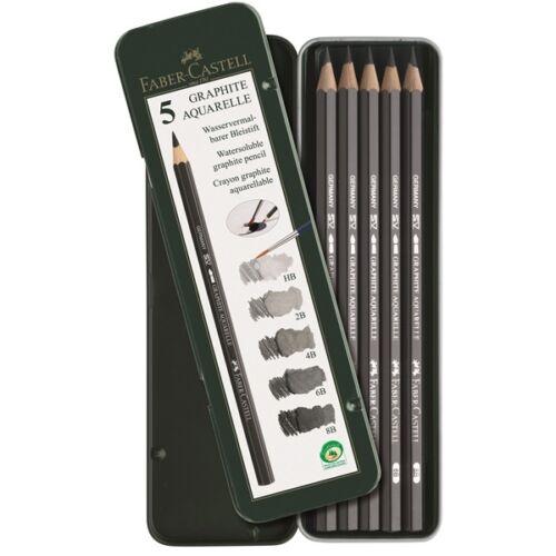 FaberCastell GRAPHITE AQUAREL Pencils Tin Set of 5 8B 6B 4B 2B HB Watersoluble