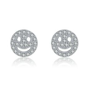18k white gold gp made with SWAROVSKI crystal smiley face emoji stud earrings