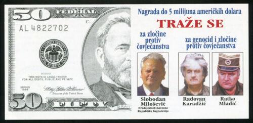 MILOSEVIC KARADZIC MLADIC Rewards For Justice BOSNIA 5000000 Dollars NATO flyer