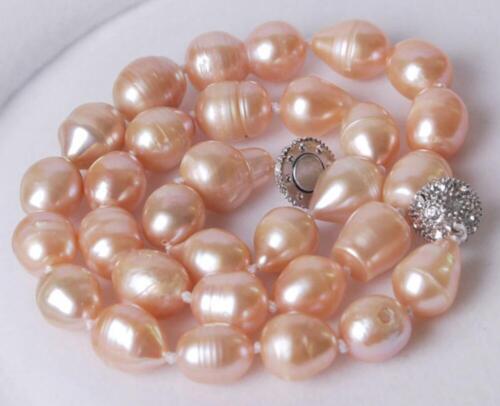 "Genuine Big 10-12MM Natural Pink Akoya Rice Pearl Necklace 18/"""