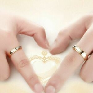 316l Stainless Steel Simple Couple Rings Band Gold Plating Engagement Jewelry Ebay