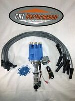 Ford Fe 352-390-427-428 Small Cap Hei Distributor Blue + Spark Plug Wires 8mm -