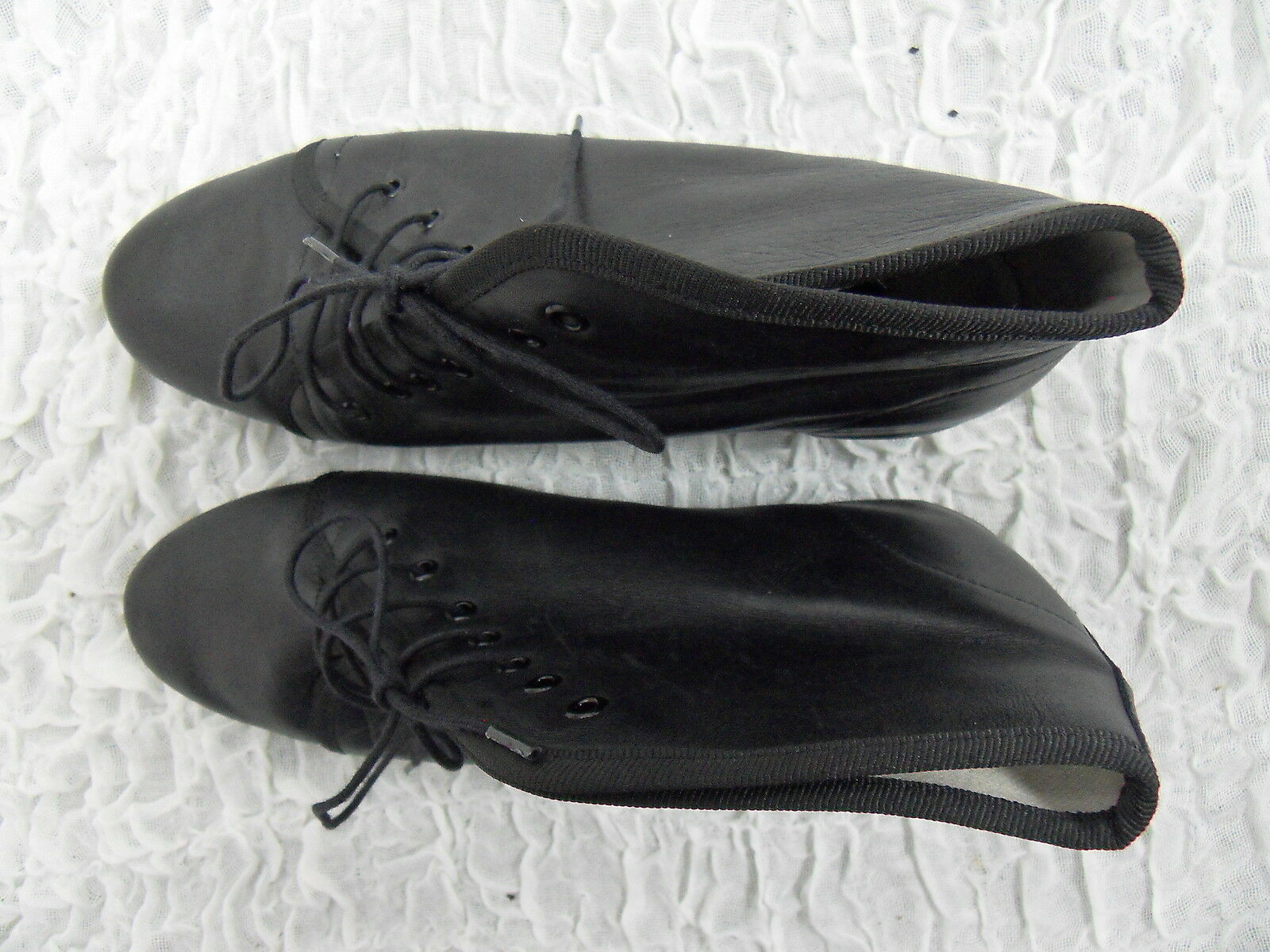 REPETTO PARIS schwarz 100% leather FRENCH lace up wedge ankle Stiefel Größe 38 7 EUC
