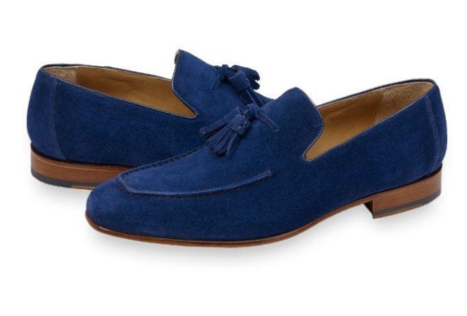 Hecho A Mano Para Hombre azul Suede Borlas Zapatos para hombres Informal Zapato de cuero de gamuza,