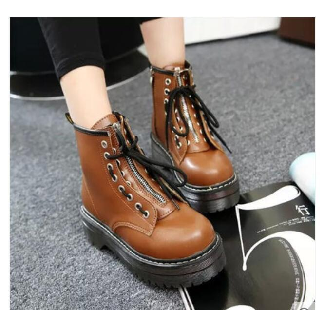 Retro Gothic Womens Punk Round Toe Lace Up High Top Platform Ankle Boots shoes 9