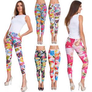 Femmes-Vif-Legging-Bd-Motifs-Femmes-Elastique-Pantalon-Extensible-S-3XL-FM1A