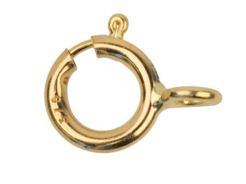 10 X 9 Ct Or Jaune 5 mm Open Bolt Anneau Fermoir Bijoux Attache Fermoir cliquet doré.