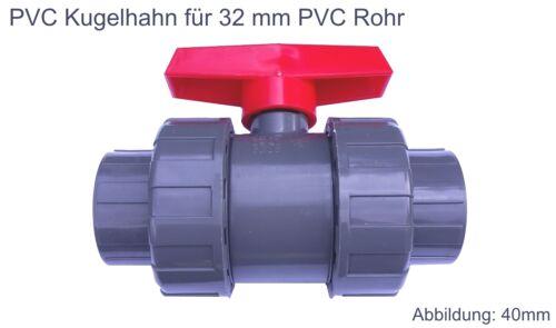 PVC Kugelhahn 32 mm 2 Wege Kunststoff Kugelventil Klebeanschluß Klebemuffe Pool