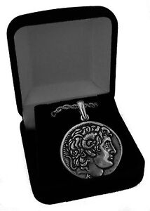 Alexander-the-Great-amp-Horse-Greek-Coin-Pendant-Chain-Stocking-Stuffer-46PC-G