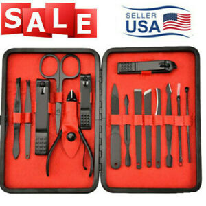 15X-Manicure-Pedicure-Set-Nail-Clippers-Callus-Remover-Scissors-Grooming-Kit-US