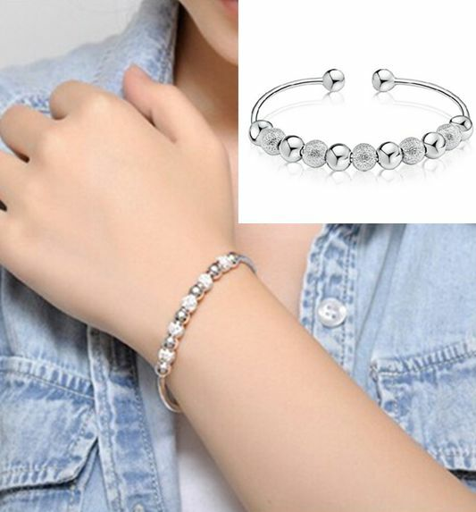Elegant Wholesale Jewelry Silver Plated Bead Bracelet Bangle Lady Men Gift