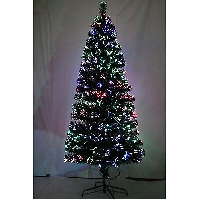 Fibre Optic 180cm Christmas Xmas Tree Lights Pre Lit Multi Colour Decoration 6Ft