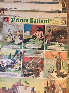 Lot-of-3-Full-Page-1941-Prince-Valiant-Comic-Strips-Newspaper-Original
